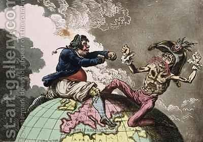 Fighting for the Dunghill or Jack Tar Settling Buonaparte by James Gillray - Reproduction Oil Painting