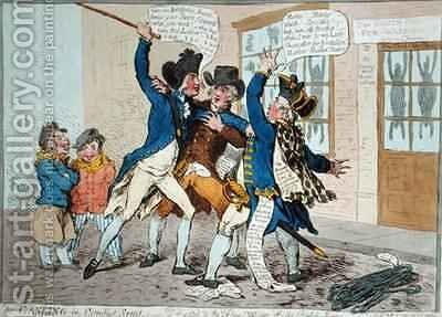The Caneing in Conduit Street 2 by James Gillray - Reproduction Oil Painting