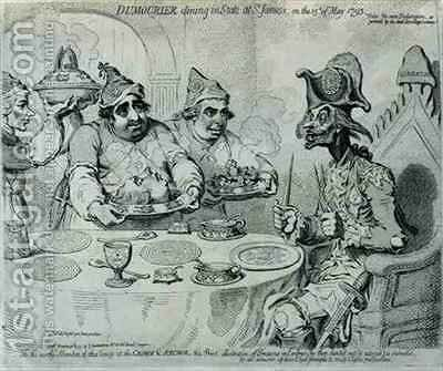 Dumourier Dining in State at St Jamess on the 15th May 1793 by James Gillray - Reproduction Oil Painting