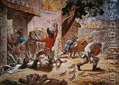 Society of United Irishmen Upon Duty raiding a farm for arms and food by James Gillray - Reproduction Oil Painting