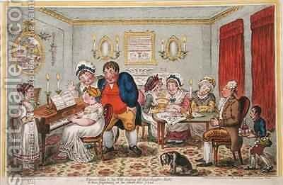 Farmer Giles and his Wife showing off their daughter Betty to their neighbours on her return from school by James Gillray - Reproduction Oil Painting
