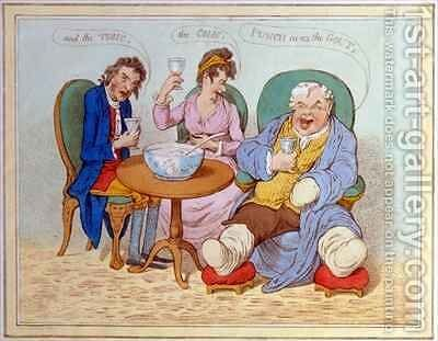 Punch Cures the Gout the Colic and the Tisic by James Gillray - Reproduction Oil Painting