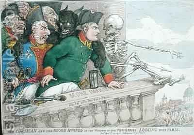 The Corsican and his Blood Hounds at the Window of the Tuilleries Looking over Paris by James Gillray - Reproduction Oil Painting