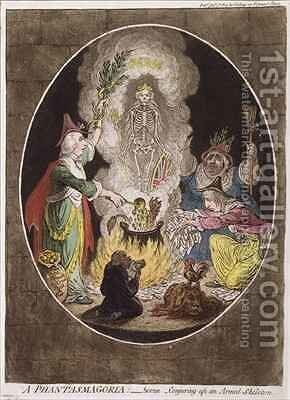 A Phantasmagoria Scene  Conjuring Up an Armed Skeleton by James Gillray - Reproduction Oil Painting