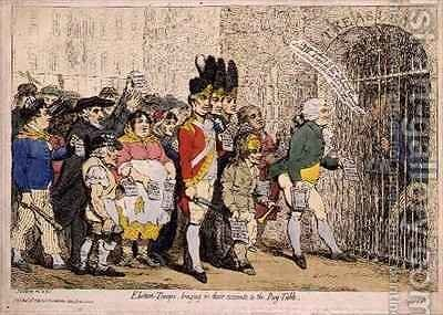 Election Troops bringing in their accounts to the Pay Table by James Gillray - Reproduction Oil Painting