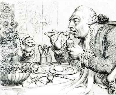 Temperance Enjoying a Frugal Meal 2 by James Gillray - Reproduction Oil Painting