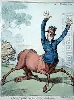 The Affrighted Centaur and the Lion Britanique by James Gillray - Reproduction Oil Painting