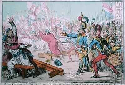 Exit Liberte a la Francois or Buonaparte closing the Farce of Egalite at St Cloud near Paris by James Gillray - Reproduction Oil Painting