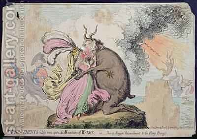 Enchantments lately seen upon the Mountain of Wales or Shon ap Morgans Reconcilement to the Fairy Princess by James Gillray - Reproduction Oil Painting