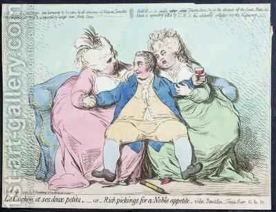 Le Cochon et ses Deux Petits or Rich Pickings for a Noble Appetite by James Gillray - Reproduction Oil Painting