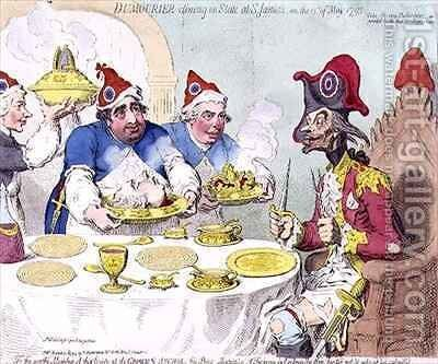 Dumourier dining in State at St Jamess on the 15th May 1793 2 by James Gillray - Reproduction Oil Painting