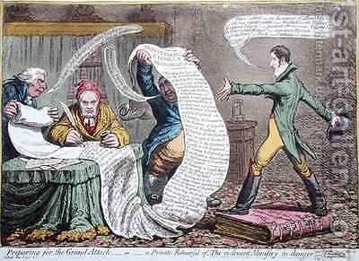 Preparing for the Grand Attack or A Private Rehearsal of the ci devant Ministry in danger by James Gillray - Reproduction Oil Painting