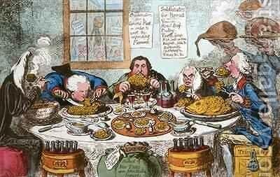 Substitutes for Bread or Right Honourables Saving the Loaves and Dividing the Fishes by James Gillray - Reproduction Oil Painting