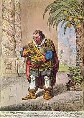 Caricature of Pizarro contemplating the product of his new Peruvian mine by James Gillray - Reproduction Oil Painting