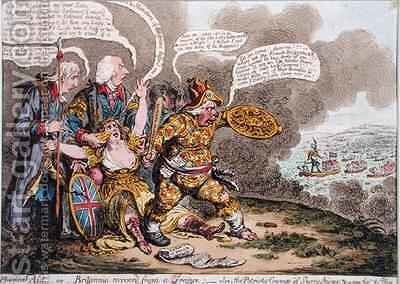 Physical Aid or Britannia recovered from a trance also The Patriotic Courage of Sherry Andrews and a Peep into the Fog by James Gillray - Reproduction Oil Painting