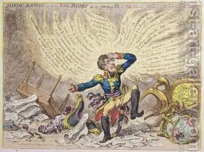 Maniac Ravings or Little Boney in a strong Fit by James Gillray - Reproduction Oil Painting