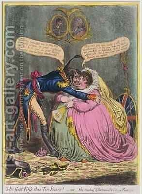 The First Kiss in Ten Years or The Meeting of Britannia and Citizen Francois by James Gillray - Reproduction Oil Painting