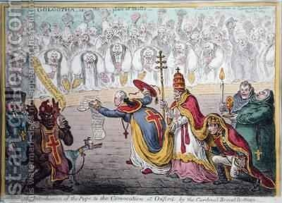 The Introduction of the Pope to the Convocation at Oxford by the cardinal Broad Bottom by James Gillray - Reproduction Oil Painting