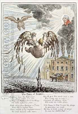 Satirical cartoon depicting the Fall of Icarus with reference to the Exchequer by James Gillray - Reproduction Oil Painting
