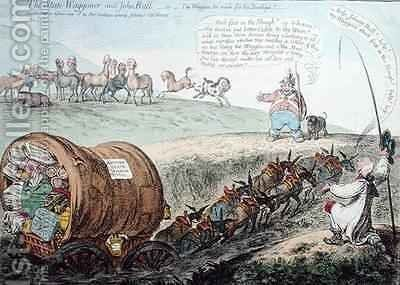 The State Waggoner and John Bull or The Waggon too much for the Donkeys by James Gillray - Reproduction Oil Painting