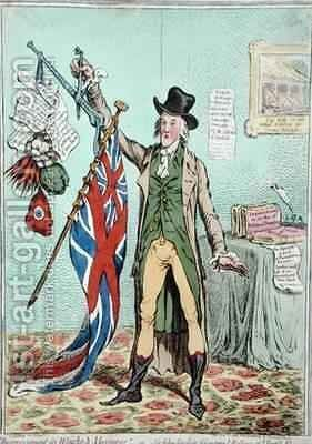 Improvement in Weights and Balances or Sir John Seeclear discovering the Balance of the British Flag by James Gillray - Reproduction Oil Painting