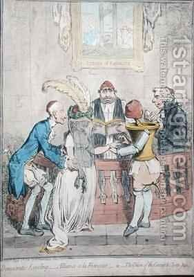 Democratic Levelling Alliance a la Francaise or The Union of the Coronet and the Clyster Pipe by James Gillray - Reproduction Oil Painting