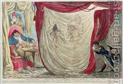 Occupations of Madame Theresa Tallien 1773-1835 and the Empress Josephine 1763-1814 dancing naked before the Vicomte de Barras 1755-1829 in the winter of 1797 by James Gillray - Reproduction Oil Painting