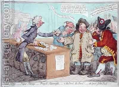Opening of the Budget or John Bull giving his breeches to save his Bacon 3 by James Gillray - Reproduction Oil Painting
