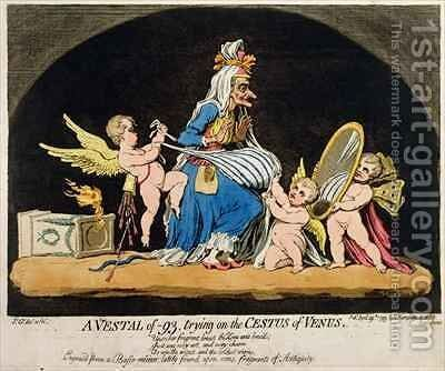 A Vestal of 93 trying on the Cestus of Venus by James Gillray - Reproduction Oil Painting