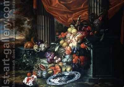 Still life of fruit in a landscape setting by Jan Pauwel Gillemans The Elder - Reproduction Oil Painting
