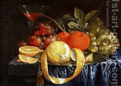 Still Life of Grapes Oranges and a Peeled Lemon by Jan Pauwel Gillemans The Elder - Reproduction Oil Painting