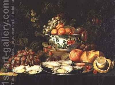Still Life with Fruit and a Plate of Oysters by Jan Pauwel Gillemans The Elder - Reproduction Oil Painting