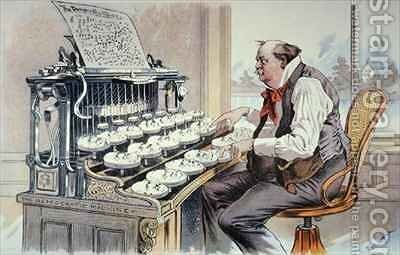 The Administration Typewriter cartoon for Judge magazine showing Grover Cleveland constructing his platform for his second term in office by Bernard Gillam - Reproduction Oil Painting