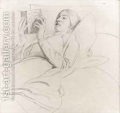 Portrait of Winifred Knights 1899-1947 reading by Colin Unwin Gill - Reproduction Oil Painting