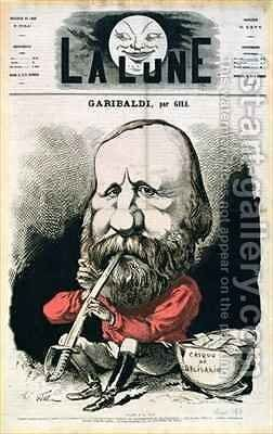 Cover illustration of La Lune magazine featuring Giuseppe Garibaldi 1807-82 by Andre Gill - Reproduction Oil Painting