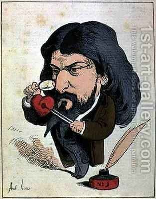 Caricature of Alphonse Daudet 1840-97 from Les Hommes dAujourdhui by Andre Gill - Reproduction Oil Painting