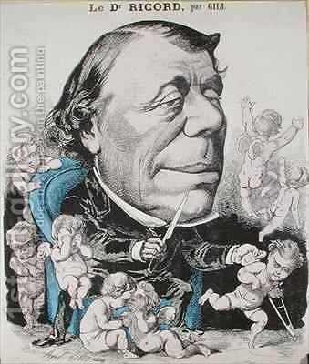 Caricature of Dr Philippe Ricord 1800-89 by Andre Gill - Reproduction Oil Painting
