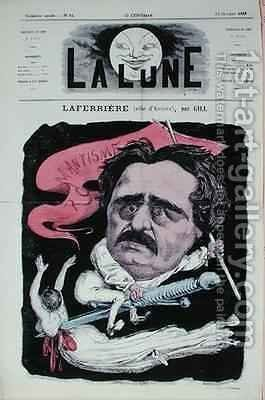 Caricature of the actor Laferriere in the role of Antony from the play of the same name by Alexandre Dumas pere 1803-70 from the front cover of La Lune magazine by Andre Gill - Reproduction Oil Painting