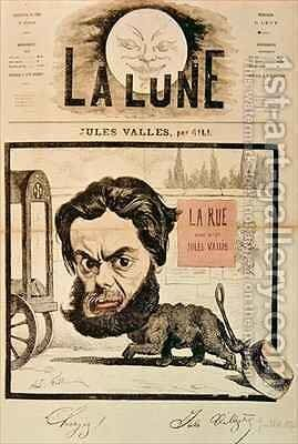 Front page of La Lune with a caricature of Jules Valles and his magazine La Rue by Andre Gill - Reproduction Oil Painting