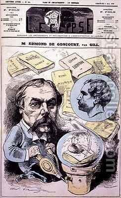 Front cover of LEclipse with a caricature of Edmond de Goncourt by Andre Gill - Reproduction Oil Painting