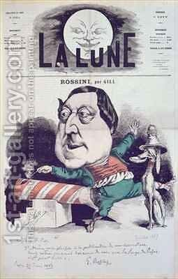 Front cover of La Lune magazine featuring a caricature of Rossini with a message and autograph of the composer by Andre Gill - Reproduction Oil Painting