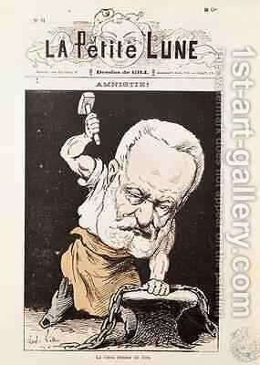 Caricature of Victor Hugo 1802-85 from the front cover of La Petite Lune by Andre Gill - Reproduction Oil Painting