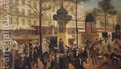 Study for a panorama of the Boulevard de Montmartre by Andre Gill - Reproduction Oil Painting