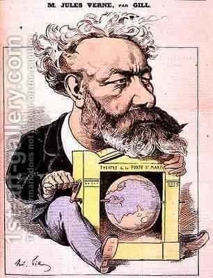 Caricature of Jules Verne 1828-1905 from LEclipse by Andre Gill - Reproduction Oil Painting
