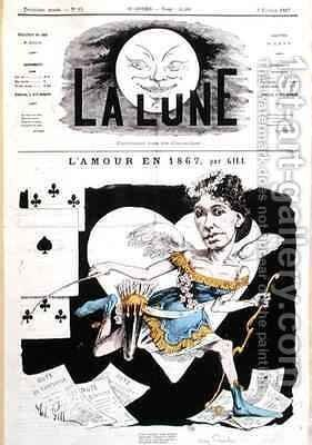 Caricature of Cora Pearl 1842-c 1886 from La Lune by Andre Gill - Reproduction Oil Painting