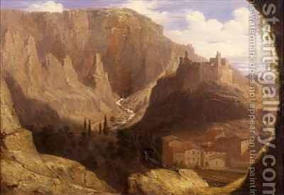 Hill Town in Italy by James William Giles - Reproduction Oil Painting