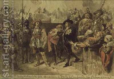 Charles I 1600-49 leaving Westminster Hall after the sentence of death had been passed by Sir John Gilbert - Reproduction Oil Painting