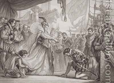 Queen Elizabeth I 1530-1603 knighting Francis Drake 1540-96 from Illustrations of English and Scottish History Volume I by Sir John Gilbert - Reproduction Oil Painting
