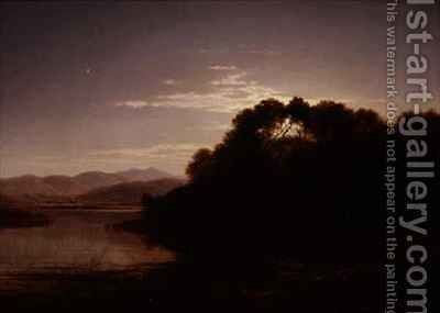 Moonrise on the bank of a loch by Arthur Gilbert - Reproduction Oil Painting