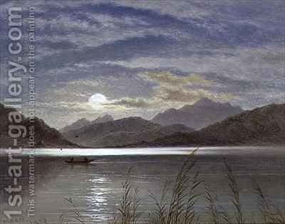 Lake Scene by Moonlight by Arthur Gilbert - Reproduction Oil Painting
